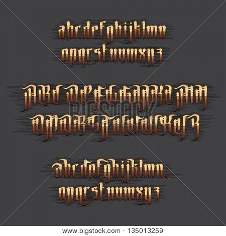 Modern Gothic Style Font. Gold Gothic letters with decoration elements