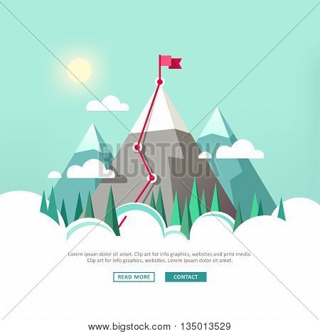 Landscape with flag on the mountain. Mountains in the clouds. Vector illustration.