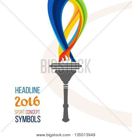 Icon torch. Torch fire, championship icon, a symbol of victory. Isolated vector illustration.