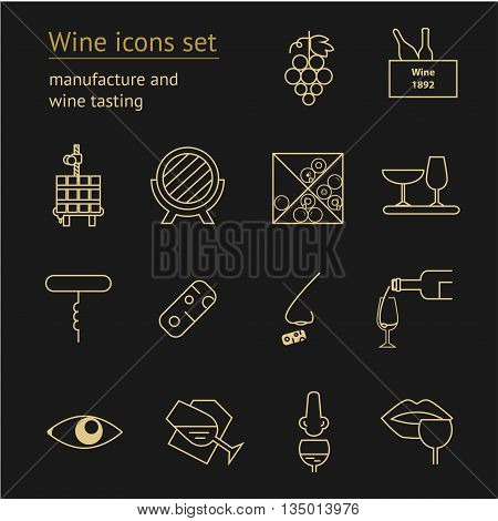 Wine gold icons collection on dark background. Modern outline style Can be used for wine shop wine company and club for typographic purpose