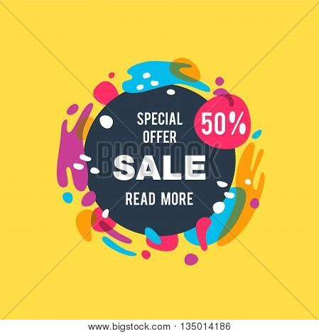 Sale abstract vector banner - special offer 50%. Sale vector banner. Sale abstract background. Super sale design layout. Sale banner template. Sale banner for website.