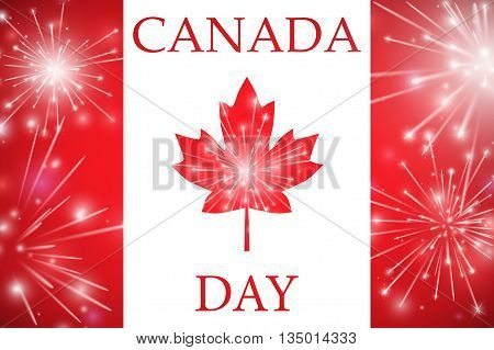Happy Canada Day Card. Canada Flag, Fireworks, Red Maple Leaf. Vector Illustration