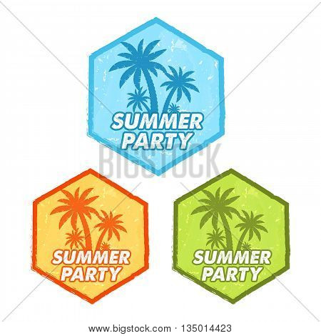 enjoy summer party banners - text in blue orange green grunge drawn flat design hexagons labels with palms symbol holiday seasonal concept vector
