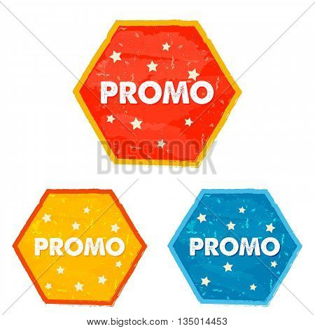 promo and stars labels - text in red yellow blue grunge drawn flat design hexagons banners business shopping concept vector