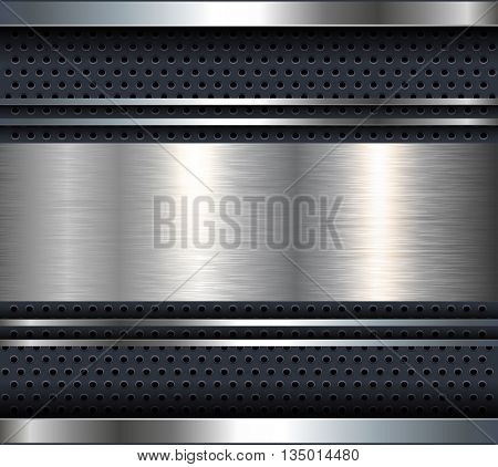 Background with aluminum metal plate bars, vector.