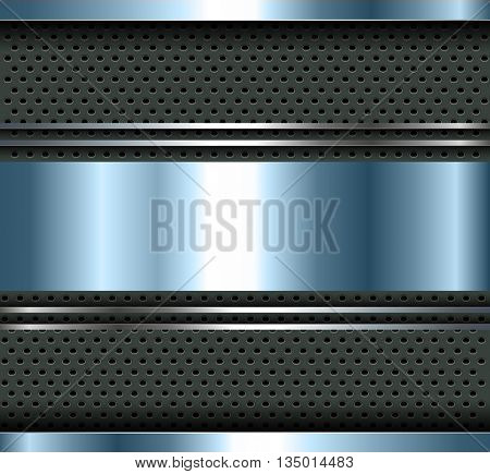 Background blue metallic with aluminum metal plate bars, vector.