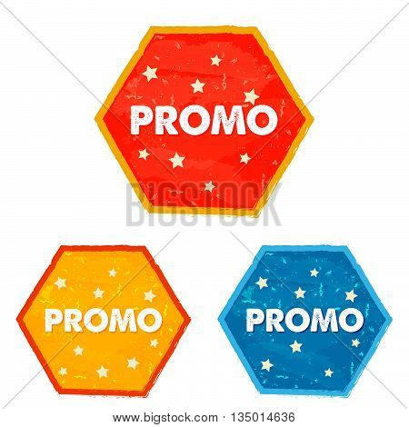 promo and stars labels - text in red, yellow, blue grunge drawn flat design hexagons banners, business shopping concept, vector