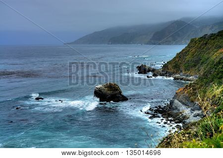 Cool and foggy morning at Big Sur California