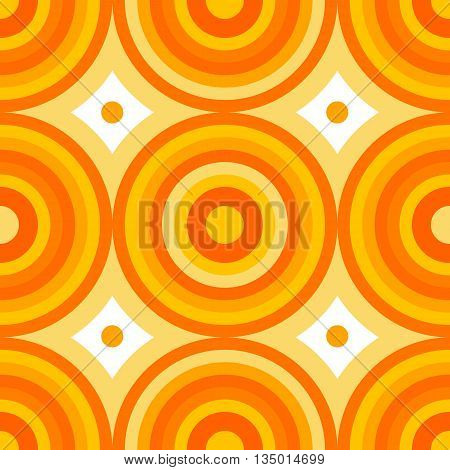 Abstract seamless pattern of circles and sectors spilling yellow shades