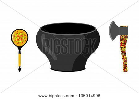 Empty Pot With Russian National Pattern. Cutlery: Wooden Spoon And Axe. Traditional Tableware In Rus