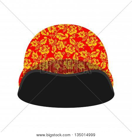 Soldiers Protective Helmet Russian Hohloma Style. National Folk Painting Of Flowers. Traditional Rus