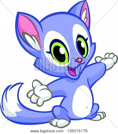 Little cute kitten pointing his hand. Blue fluffy cat sitting. The concept of children's and educational books. Vector Illustration.