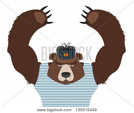 Bear Patriot Of Russia Raised Paws Up. Russian National Animal On White Background.