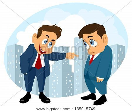 Vector illustration of a businessman laughing at other