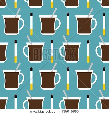 Coffee Cup And Cigarettes Seamless Pattern. Best Of Day Sat Down To Texture. Invigorating Drink And