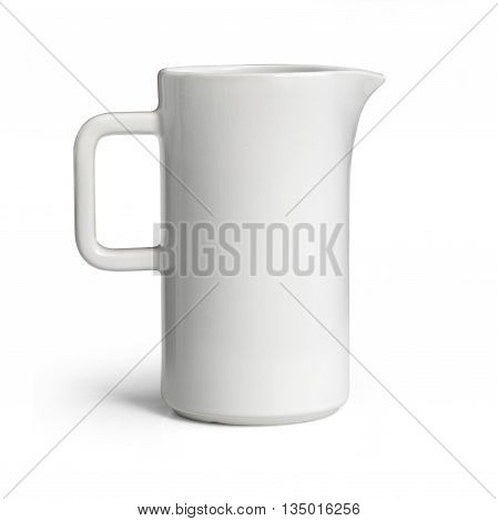 White ceramic pitcher isolated on white with clipping path