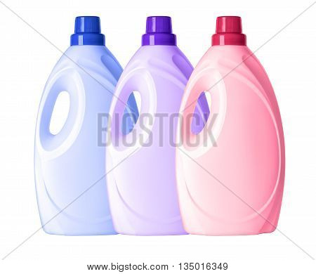 set of plastic bottles for liquid laundry detergent or cleaning agent or bleach or fabric softener.With clipping path