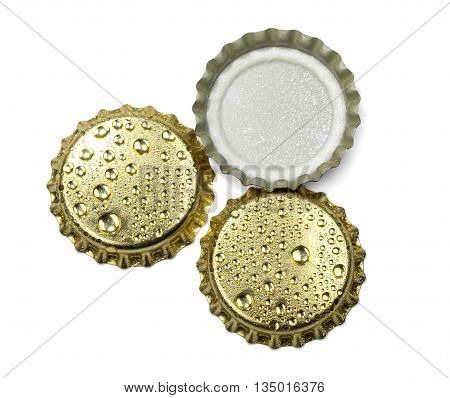 beer bottle cap close up macro Isolated on white background with clipping path