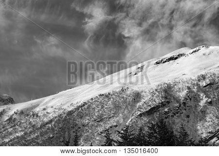 Black And White View On Off-piste Ski Slope