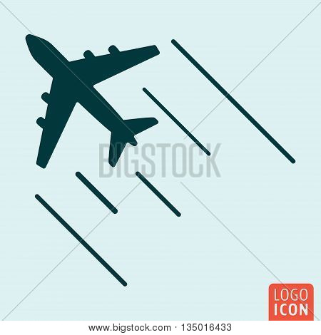 Airplane icon isolated. Aircraft simple design symbol. Vector illustration