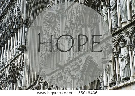 Church Of Trondheim In Norway. Macro Or Close Up Of Sculptures Or Statue. Religious Greeting Card. English Text Hope