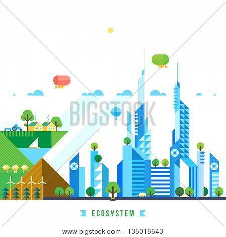 Flat design urban landscape illustration. Environmental ecosystem