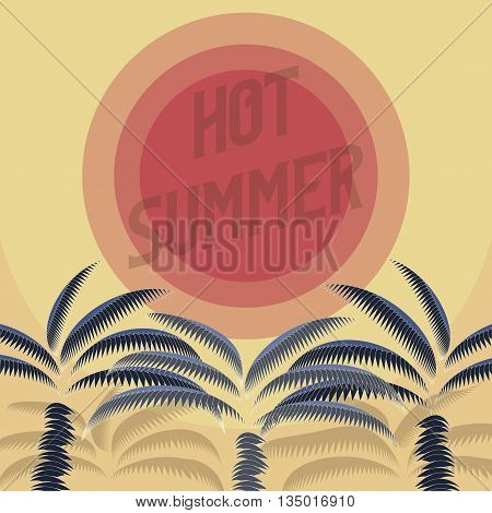 Hot summer flyer. Three silhouettes of a palm tree against the hot summer sun.