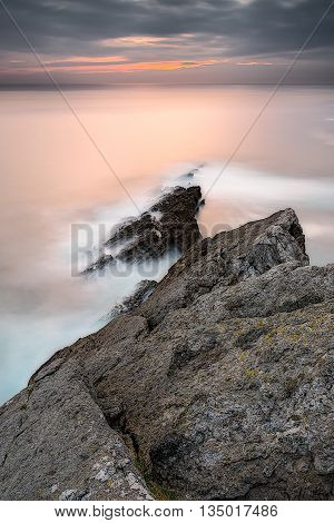 Sunrise In A Cliff In Isla, Cantabria