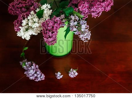 Two Branch of White and Purple Lilac in the Green Plastic Pitcher.Wooden Table.