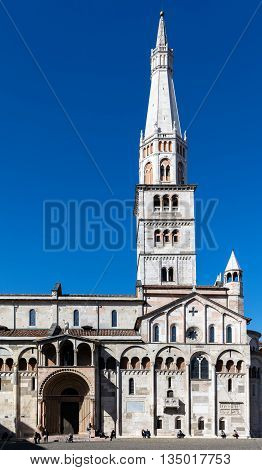 MODENA ITALY - APRIL 27 2016: Modena Cathedral consecrated in 1184 took more than 200 years to complete. It is an important Romanesque building in Europe and a UNESCO World Heritage Site since 1997