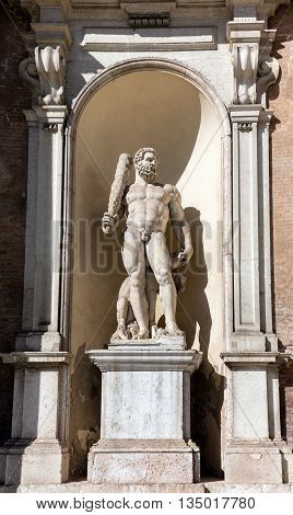 Statue of Hercules at the facade of the Ducal Palace of Modena the residence of the Este Dukes of Modena Italy between 1452 and 1859.