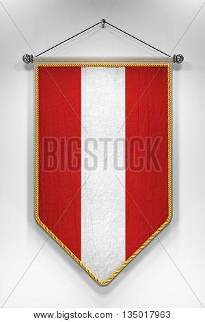 Pennant with Austrian flag. 3D illustration with highly detailed texture.