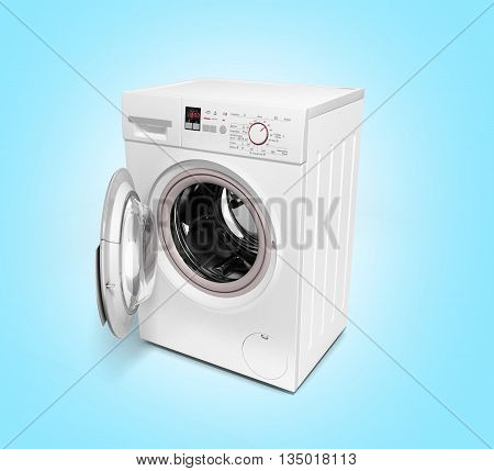 Open Washing Machine On Gradient Background 3D Illustration
