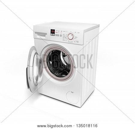 Open Washing Machine On White Background 3D Illustration