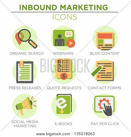 Circular Green Inbound Marketing Vector Icons with organic search, ppc, blog content, press release, social media marketing, contact form, ebook, video, webinar, and quote request