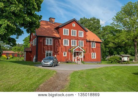 NORRKOPING, SWEDEN - JUNE 6, 2016: Himmelstalunds rock carvings museum is a former old historic health spa building dating back to the 18th century. Norrkoping is a historic industrial town.