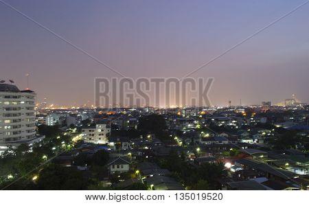 viewpoint landscape at bangkok thailand  to night
