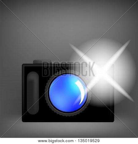 Digital Camera and Flash Isolated on Grey Background