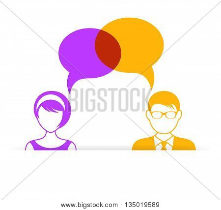 Man and woman icon with dialog speech bubbles