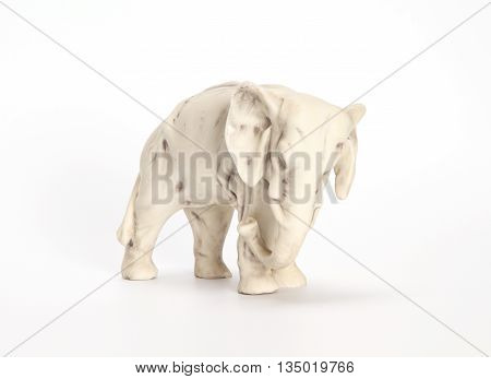Statuette elephant XIX century (roasting on a biscuit). On a white background