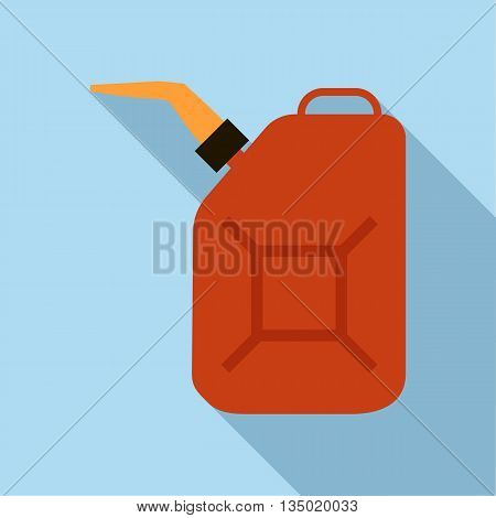 Jerrycan oil icon in flat style with long shadow