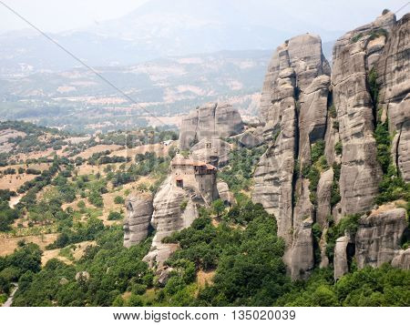 Monasteries and caves in the rocks in the valley of the Meteora