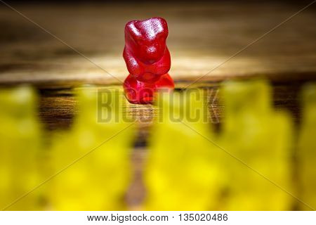 gummy bear all against one yellow against red