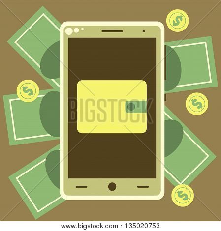 Mobile Wallet With Money Bills And Coins