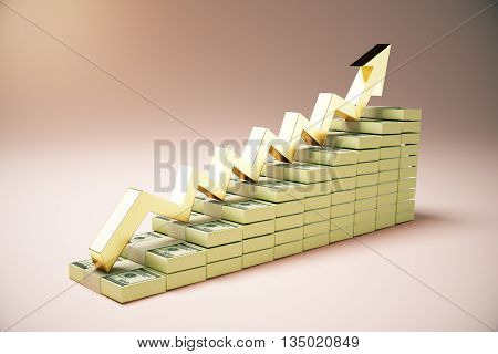 Financial growth concept with dollar banknote ladder and golden upward arrow on pink background. 3D Rendering