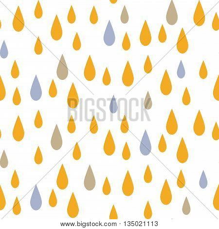 Rain drops seamless vector pattern. Blue and yellow rainfall in the sky on white background. Minimalist style textile fabric kid cartoon ornament.