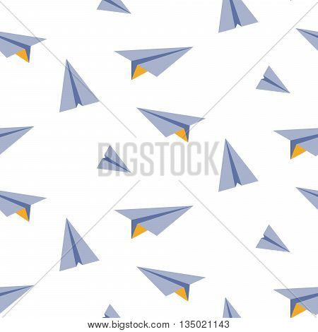 Origami paper plane seamless vector pattern. Blue and yellow planes on white background. Minimalist style textile fabric ornament.