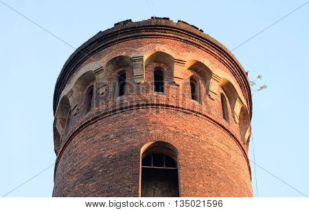 Old water tower in microdistrict Ribatskoe on the outskirts of St. Petersburg Russia.