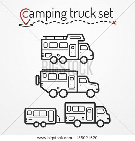 Set of camping truck icons. Travel truck symbols in silhouette line style. Camping trucks vector stock illustration. Heavy trucks with camping equipment.