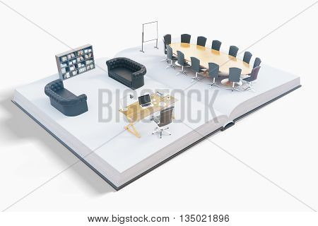 Open book with abstract office interior on white background. 3D Rendering